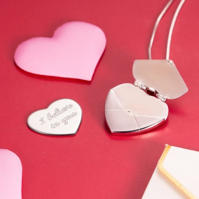 Personalized Secret Message Envelope Heart Locket Necklace
