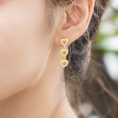 Personalized 1-9 Hearts Earrings for Her