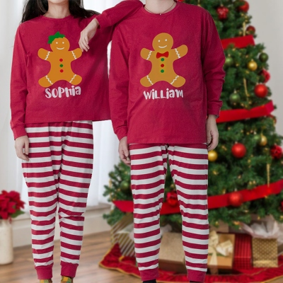 Customed Christmas Pajamas Gingerbread Style for Family & Lovers