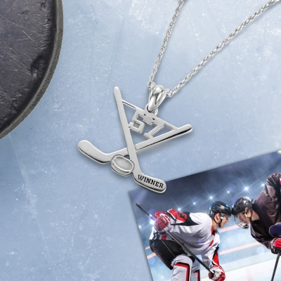 Custom Hockey Necklace Ice Hockey Sticks Name Jewelry