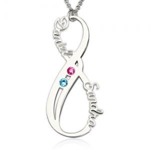 Mother's Infinity Necklace with 2 Birthstones and Names