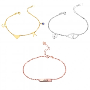 Personalized Bar Initial Heart Anklet