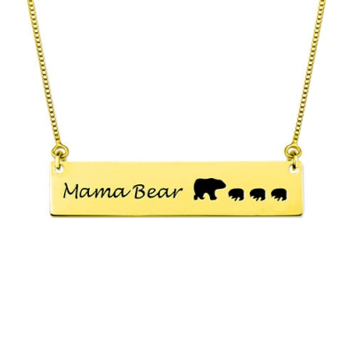 Custom Mama Bear Bar Necklace In Gold Plated