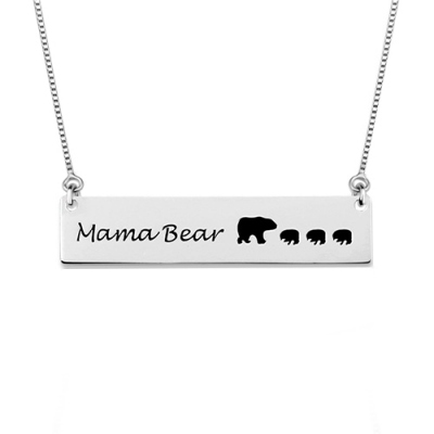 Custom Mama Bear Bar Necklace In 925 Sterling Silver