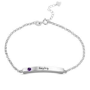 4 Sided Personalised Birthstone Bar Name Bracelet Sterling Silver
