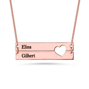 Engravable Double Bar Necklace with Heart Cutout In Rose Gold