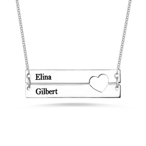 Engravable Double Bar Necklace with Heart Cutout In Silver