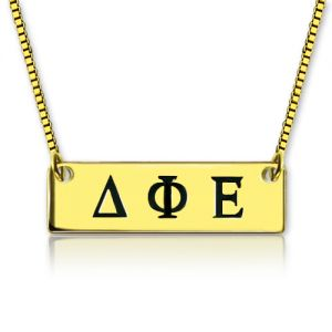 Personalized Greek Letter Sorority Bar Necklace 18K Gold Plated