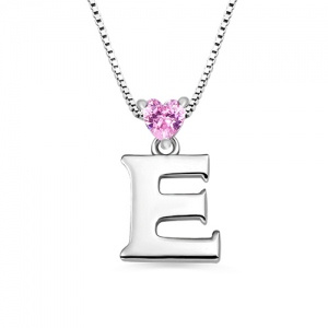 Custom Initial Letter With Heart Birthstone Necklace