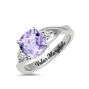 Custom Cushion-Cut Birthstone Ring Sterling Silver