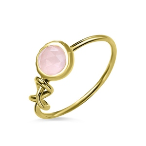Custom Infinity Knot Ring With Birthstone In Gold