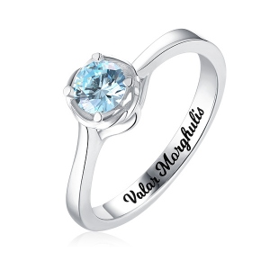Engraved Solitaire Birthstone Ring In Silver