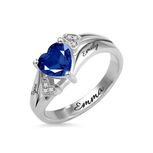 Crafted Heart Birthstone Ring with Engraved
