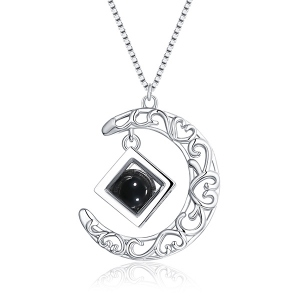 Personalized Geometric Cube Bead Moon Necklace
