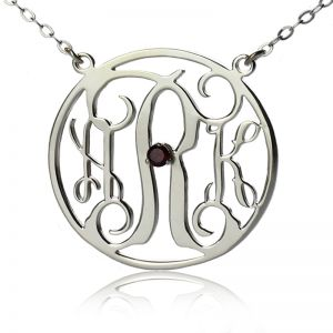 Sterling Silver Circle Initial Monogram Necklace with Birthstone