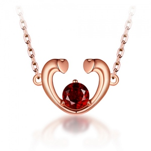 Red Garnet Heart Necklace In Rose Gold 18