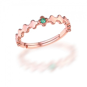 Trendy Flower Gemstone Promise Ring Size Adjustable 6-9