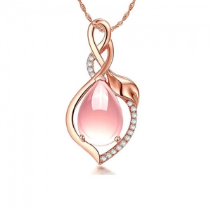 Natural Water Drop Pink Crystal Necklace In Rose Gold
