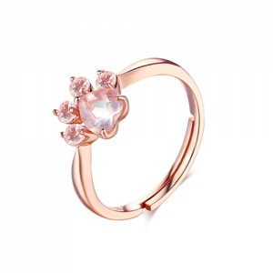 Natural Crystal Pink Cat Paw Ring