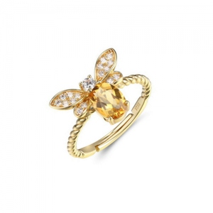Natural Yellow Bee Shape Adjustable Ring With Gold Plated