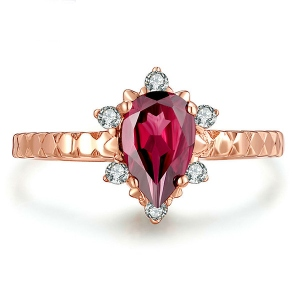 Natural Red Gemstone Ring In Rose Gold