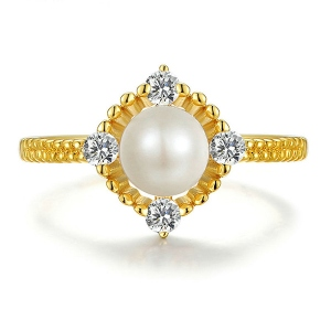 Natural White Pearl Sterling Silver Ring