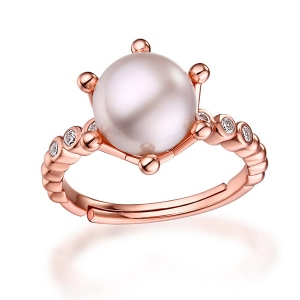Elegant Natural Pearl Ring Rose Gold Plated Silver Size Adjustable 5-9
