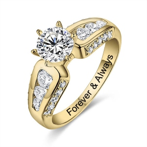 10K/14K Engraved Round Gemstone Promise Ring