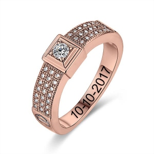 Engraved Gemstone Classic Engagement Ring In Rose Gold