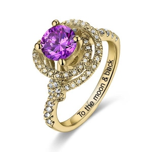 10k/14k Women's Engraved Gemstone Engagement Ring