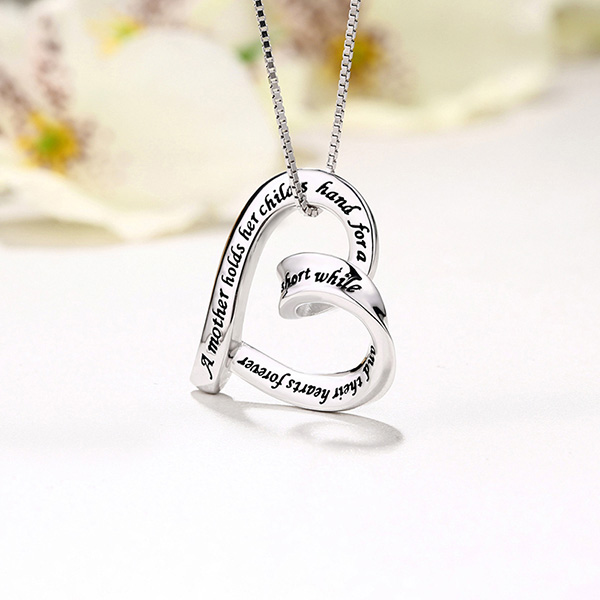 Heart Strip Necklace Sterling Silver for Mom/Mother