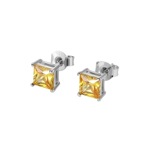 Personalized Square Birthstone Stud Earrings in Silver