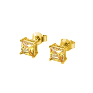 Personalized Square Birthstone Stud Earrings in Gold