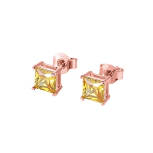 Personalized Square Birthstone Stud Earrings in Rose Gold