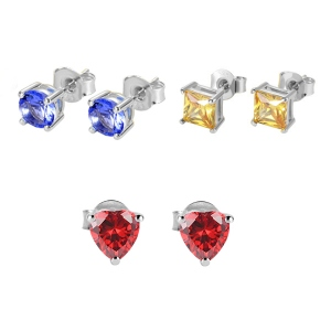 Personalized Week Birthstone Stud Earrings in Silver Pack of 7