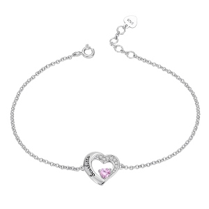 Personalized Heart Birthstone Bracelet in Silver
