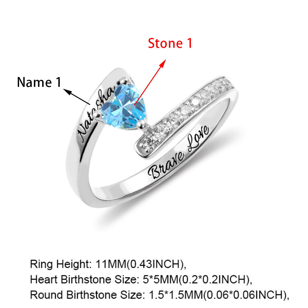 BY Birthstone Personalized Rings Made with 4 Names Custom Engraved for Family Friend Silvery Size 5