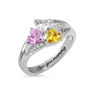 Custom Heart Birthstone Engraved Names Ring Sterling Silver