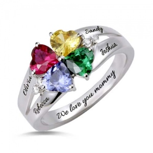 Custom Four-Heart Birthstone Engravable Ring Sterling Silver