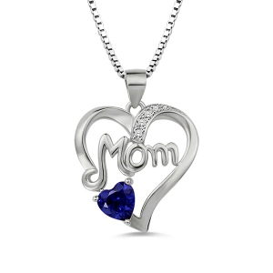 Mom Heart Necklace With Birthstone In 925 Sterling Silver