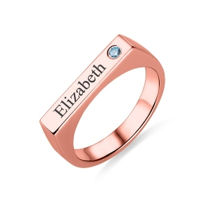 Engraved Bar Ring With Birthstone In Rose Gold