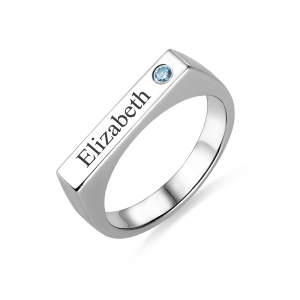 Engraved Bar Ring With Birthstone Sterling Silver