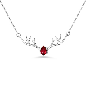 Personalized Birthstone Sterling Silver Deer Antler Necklace