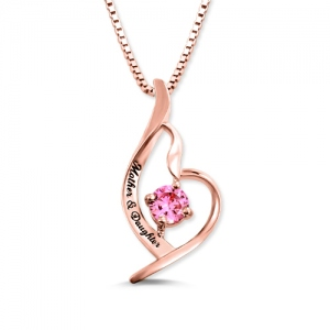 Custom Mother And Daughter Birthstone Necklace In Rose Gold