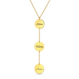 Personalized Name Disc Necklace Gold Plated Silver