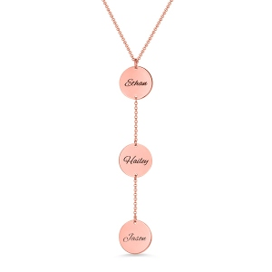 Personalized Name Disc Necklace Rose Gold Plated Silver