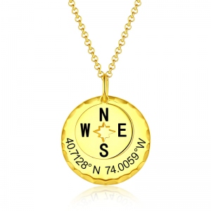 Personalized Compass Necklace in Gold