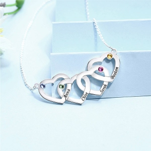 Engraved 2-5 Intertwined Hearts Necklace With Birthstones Sterling Silver
