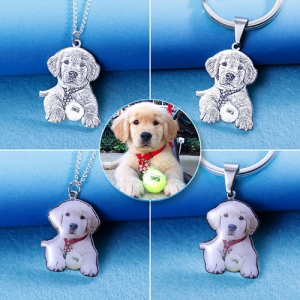 Personalized Engraved Photo Necklace Photo Keychain