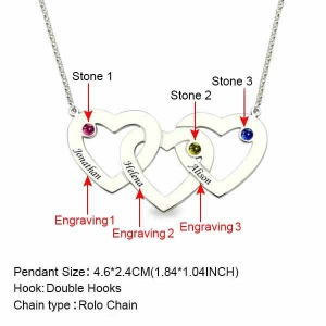 Engraved 1-5 Intertwined Hearts Necklace With Birthstones Sterling Silver